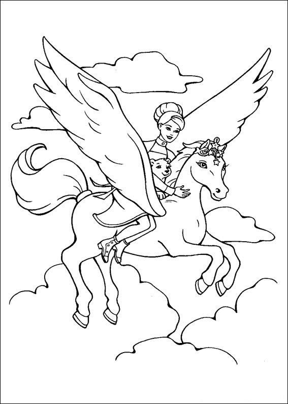 Barbie and The Magic Pegasus Kids Coloring Pages 8