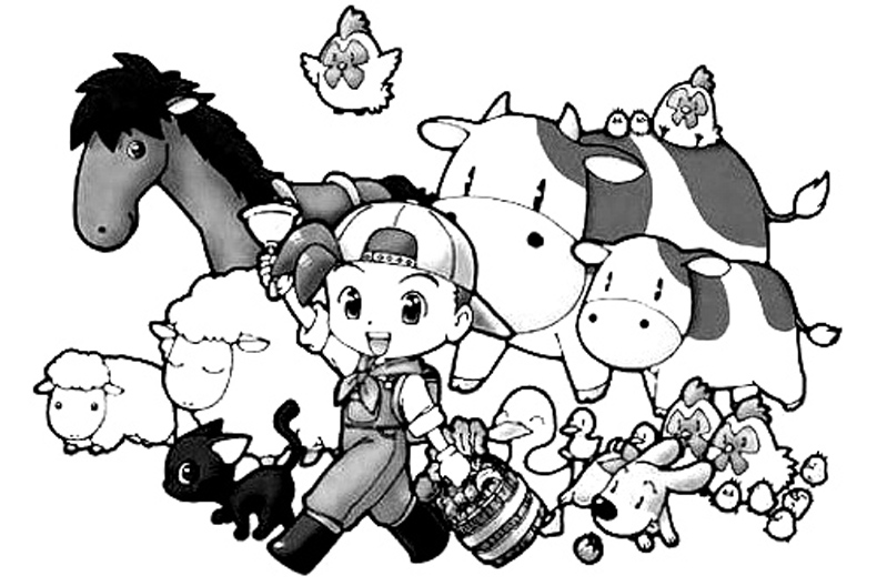 Harvest Moon Kids Coloring Pages 1